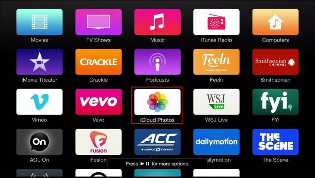 A screen full of Apple TV app icons