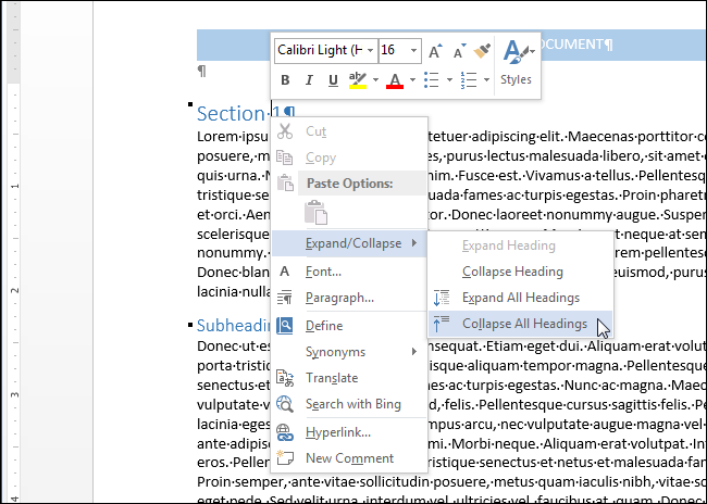 How to collapse and expand parts of your document in word 04selectingcollapseallheadings publicscrutiny Image collections