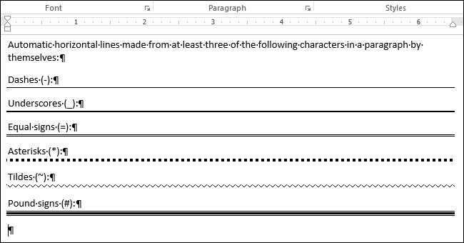 how to add a line across the page in word