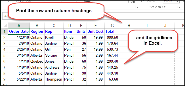 How to Print the Gridlines and Row and Column Headings in Excel