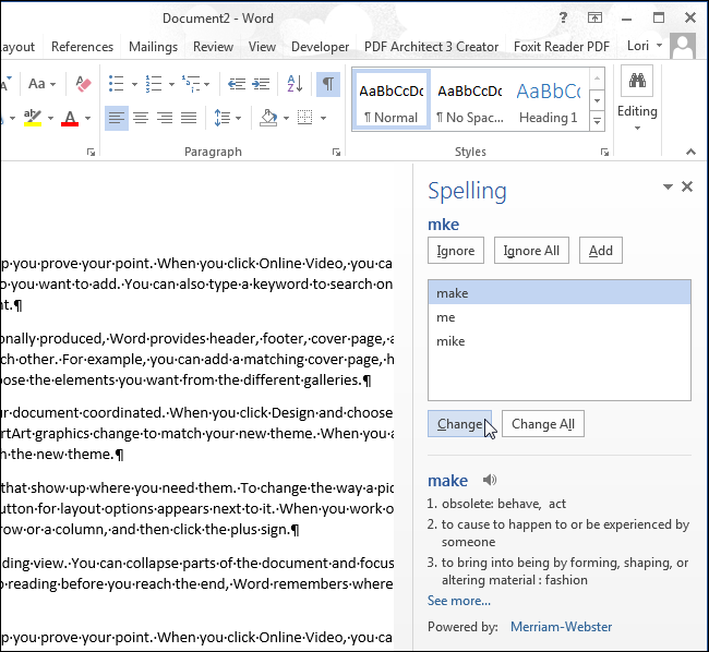 how to change proofing language in word