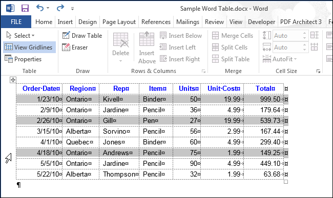 How To Select All Or Part Of A Table In Word