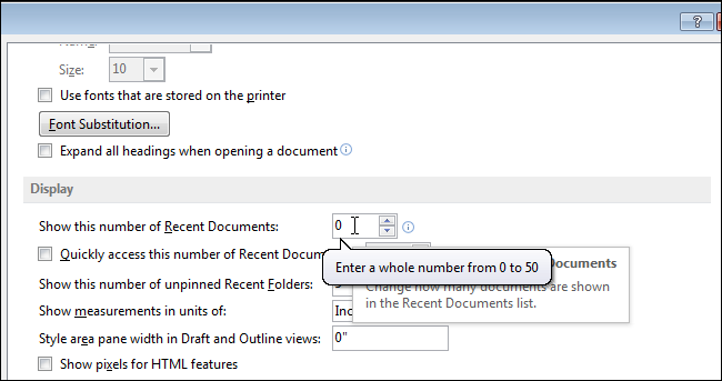 how to delete recent open files in word