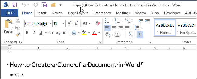 how to create a new copy of a word document