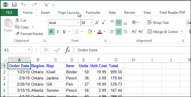 how to change page layout in excel