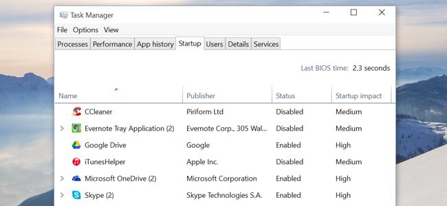 startup windows 10 faster