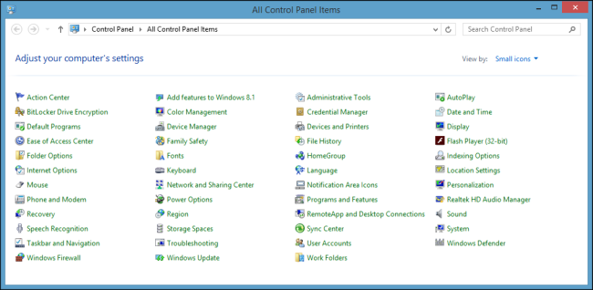 how to put control panel on desktop windows 8