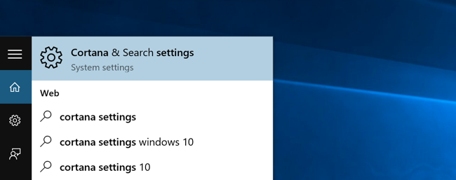 Cortana & Search settings option in Windows 10's Start menu