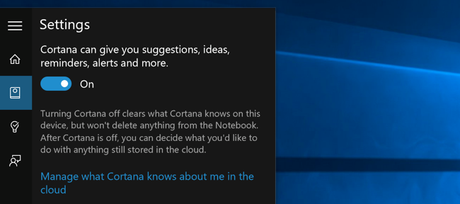Old Start menu option to disable Cortana on Windows 10