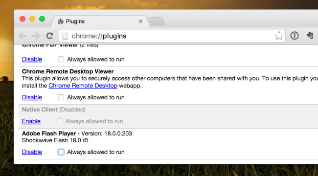 plugin settings chrome