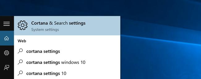 Cortana & Search settings option in Windows 10's Start menu