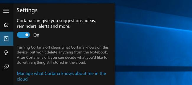 Old Start menu option to disable Cortana on Windows 10