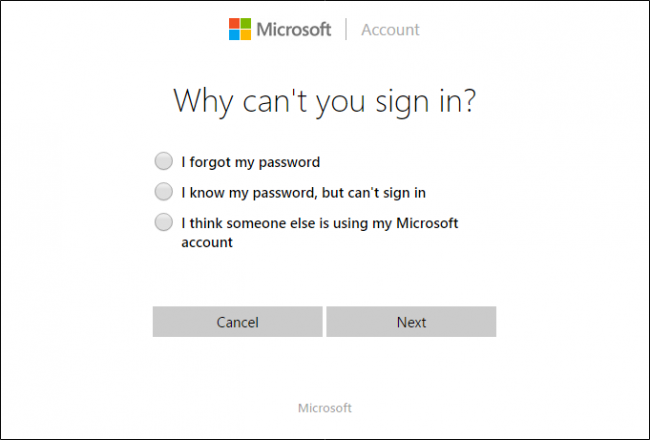 windows 10 local account password reset