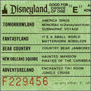 "An example of a Disney ""E"" Ticket"