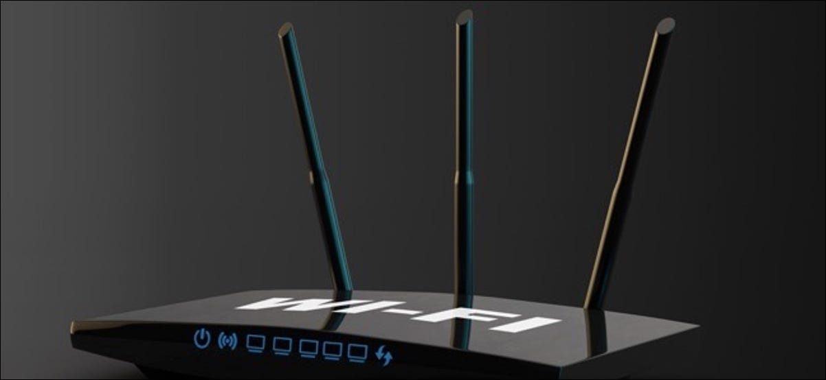 3d Modern WiFi Router on a black background