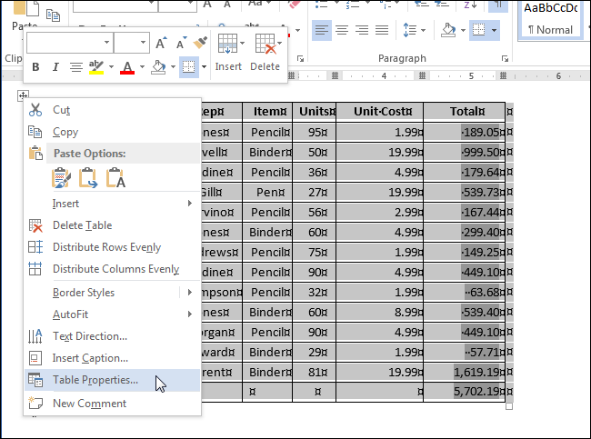 How to Freeze the Size of the Cells in a Table in Word