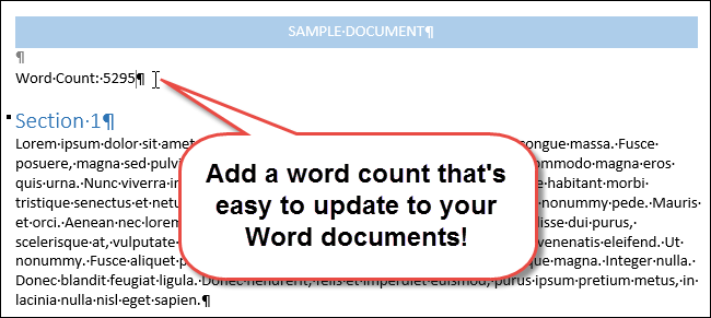 how to insert a word count into your word document