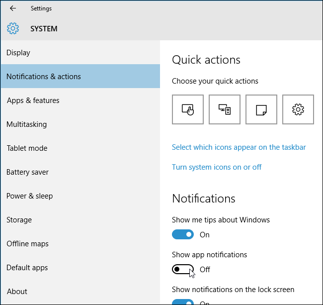 How do i turn off mail notifications on windows 10