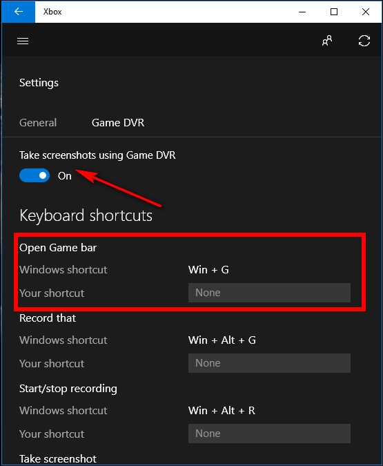 method three use keyboard shortcuts with game bar in windows 10
