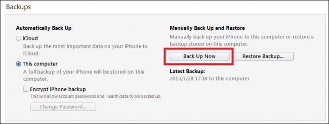 Itunes backup now