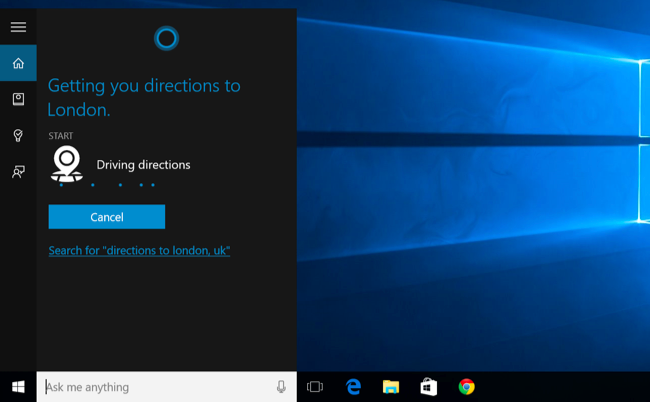 get cortana open open google