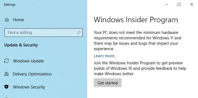 Windows Insider Program options.