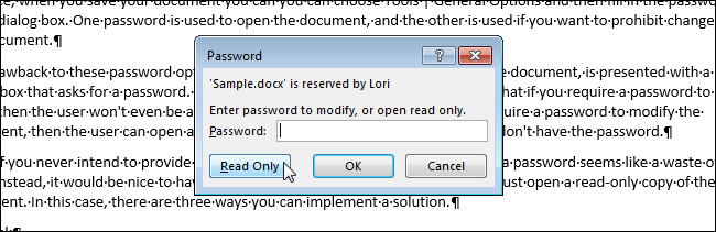 excel switch to read only mode