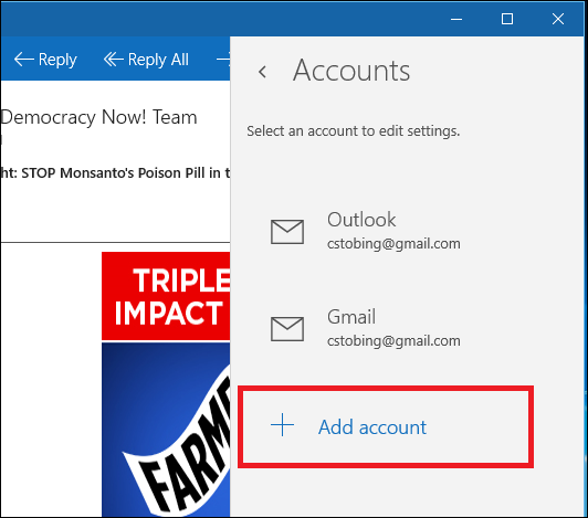 how to add email account to windows 10