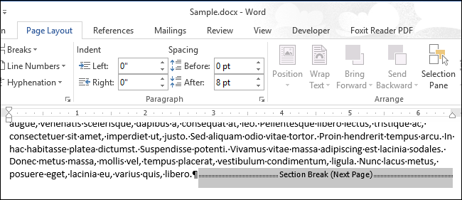removing section breaks in word 2011 mac