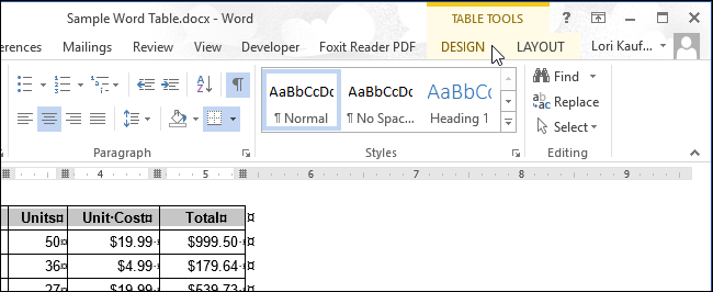 how to add table in word