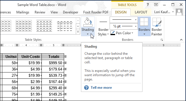 how to move a table down in word