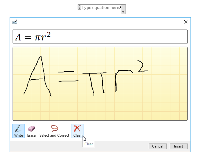 how to write equations in word 2016