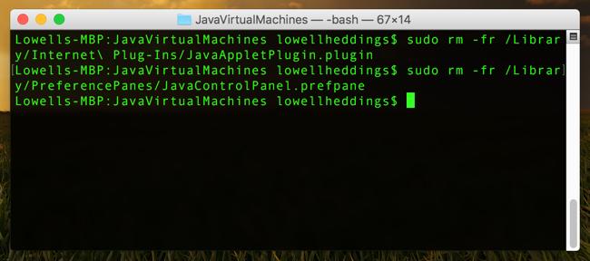 JavaVirtualMachines_—_-bash_—_67×14