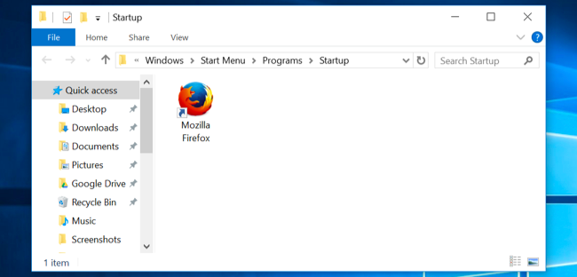 automatically open program on startup windows 10