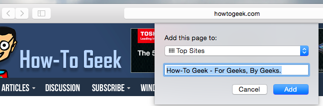 how to add top sites in safari