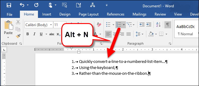 how to create a numbered list in word using the keyboard
