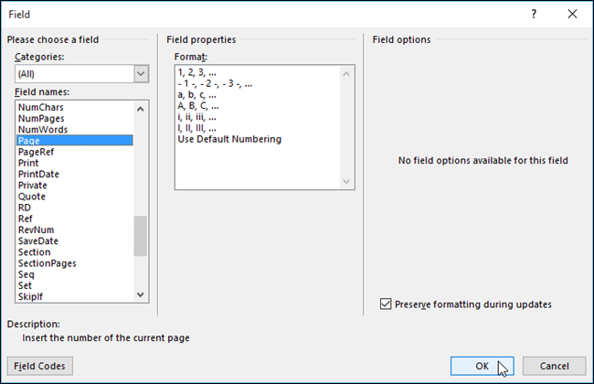 how to change current page number in word