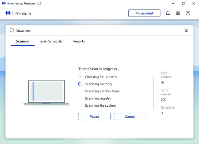 Malwarebytes Premium scanning Windows 10 with Windows Defender running in the background
