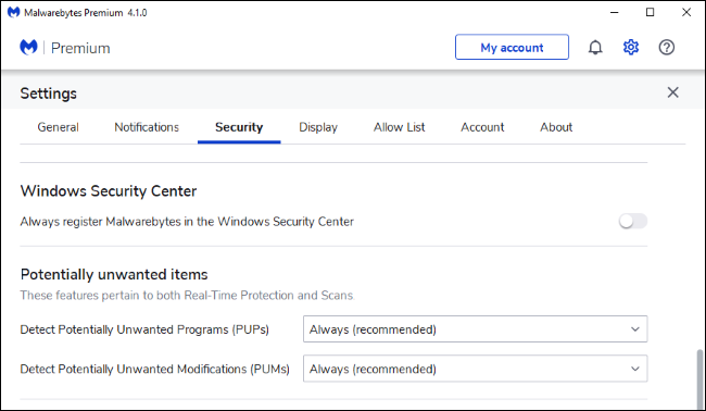 Configuring Malwarebytes Premium to not register in the Windows Security Center