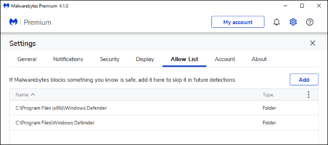 Adding exclusions for Windows Defender to the Malwarebytes Allow List.