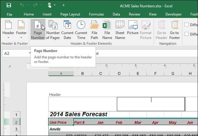 how to change page number in excel