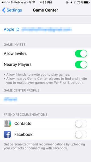 Ipad game center disable