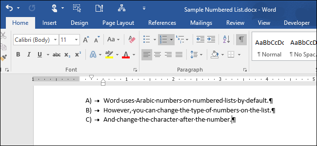 How to Change the Type of Numbers Used in a Numbered List in