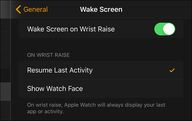 how to resume your last activity on wrist raise on apple