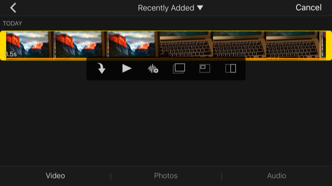 the change themes and more button at the right side of the screen will allow you to adjust filters applied to the entire video project choose its theme