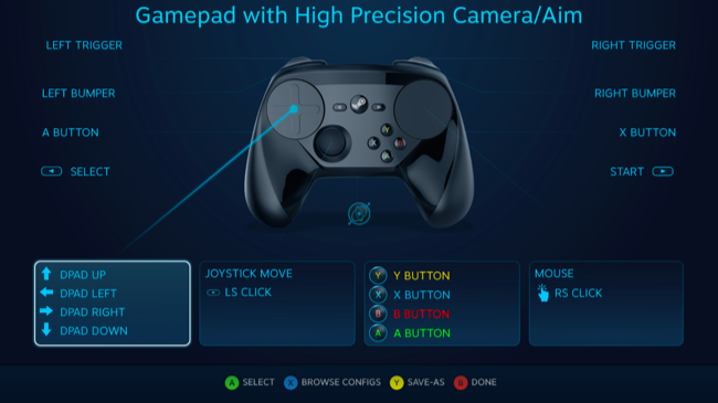 how to remap buttons on your steam controller