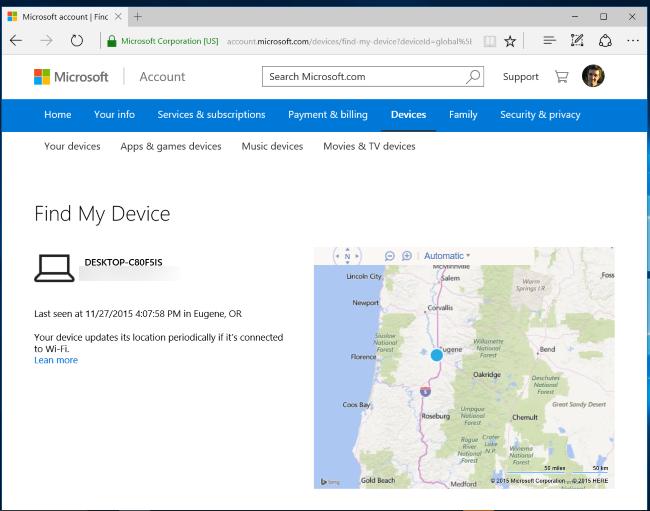 كيف تتبع جهاز الكمبيوتر ويندوز 10 أو الكمبيوتر اللوحي المسروق