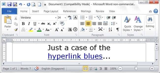 how do you return all hyperlinks in a microsoft word document back