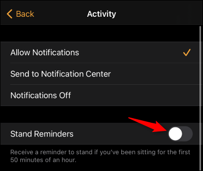 """Tap the """"Stand Reminders"""" toggle"""