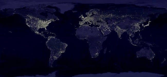 earth at night lights from nasa